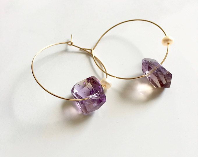 Copper Wire Wrapped Beaded Hoop Earrings With Gold Quartz /& Ametrine