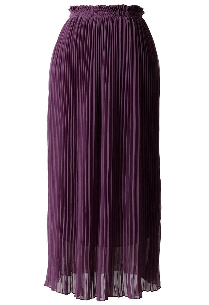 Purple Chiffon Pleated Maxi Skirt