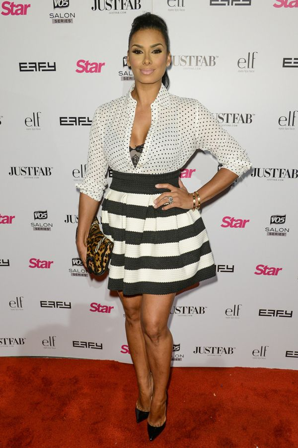 Laura Govan @ Star Magazine Scene Stealers Party Polka  Dot Blouse Striped Skirt and Christian Louboutin Pumps