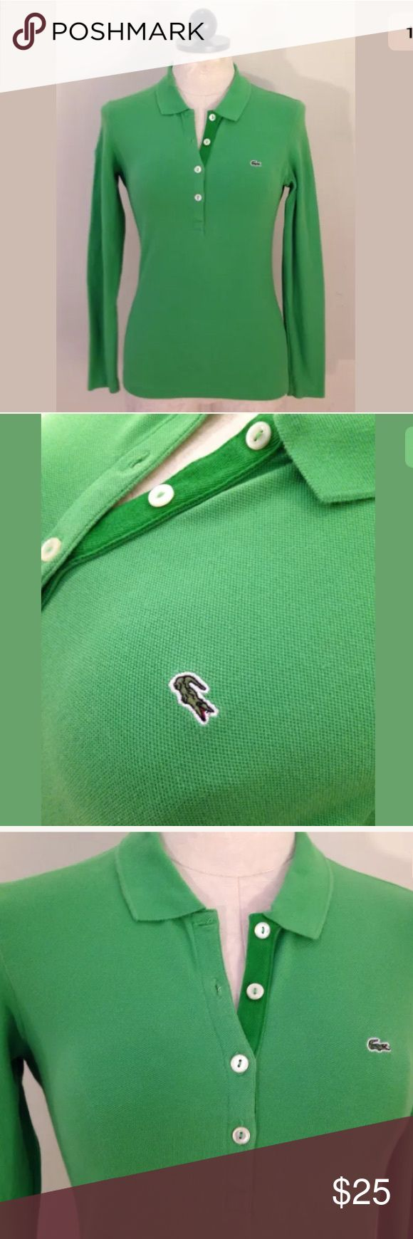 Selling this Women's Lacoste 6 green long sleeve polo shirt 38 on Poshmark! My username is: jesseblackbear. #shopmycloset #poshmark #fashion #shopping #style #forsale #Lacoste #Tops