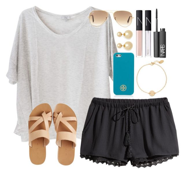 """""""Boardwalk"""" by lauren-hailey ❤ liked on Polyvore featuring Clu, KYMA, Nashelle, Tory Burch, H&M, NARS Cosmetics, Kenneth Jay Lane and Ray-Ban"""