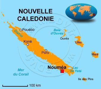 C'est une carte qui représente la Nouvelle Caledonie et ou elle se situe dans le monde. (Y.F)
