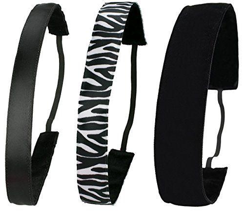 Ivybands� | Anti-Rutsch Haarband | 3-er Pack | Black or White Edition | Klassisch Schwarz, Zebra Schwarz Weiss, Schwarz Samt Extra Breit | One size | IVY001 IVY076 IVY026