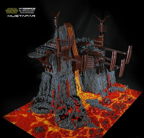 The fiery world of Mustafar sculpted from 60,000 Lego bricks