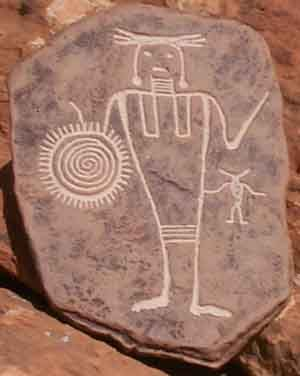 http://petroglyphtrail.com/warrior.jpg - Replica of Fremont Warrior from the Four Corners region (parts of Arizona/Utah/New Mexico/Colorado)
