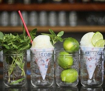 Station #2 at 360 Bar: Snow Cone Bar. Place paper snow cone in mason jar with nice garnish.   **Mojito Snow Cones could be fun for summer