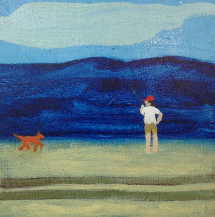 Frazer island fishing piss off dingo - oil on board - (24 x 24 cm) sold