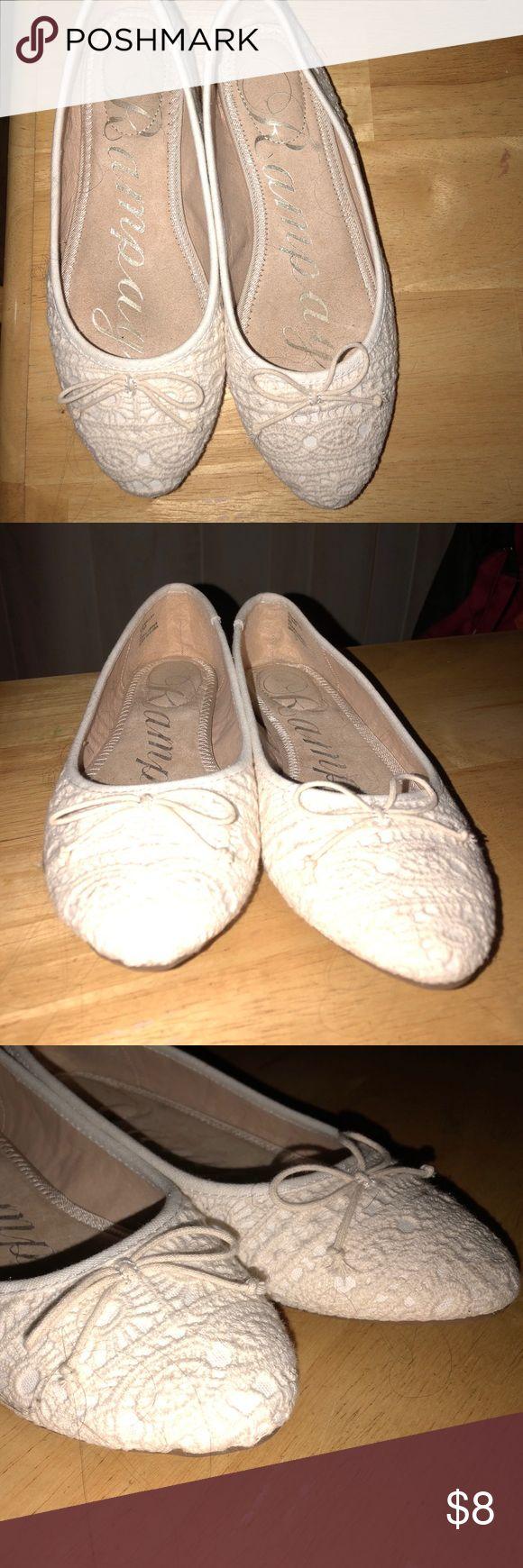 Rampage off white (cream) ballet flat 8M Rampage off white (cream) ballet flat with crochet lace overlay. 8M worn once Rampage Shoes