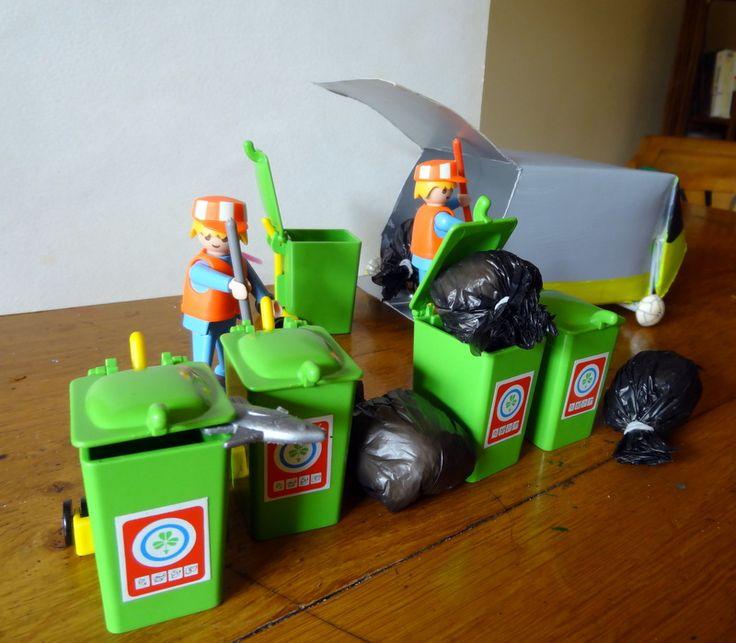 camion poubelle pour Playmobil fabriqué avec une brique de jus de fruits