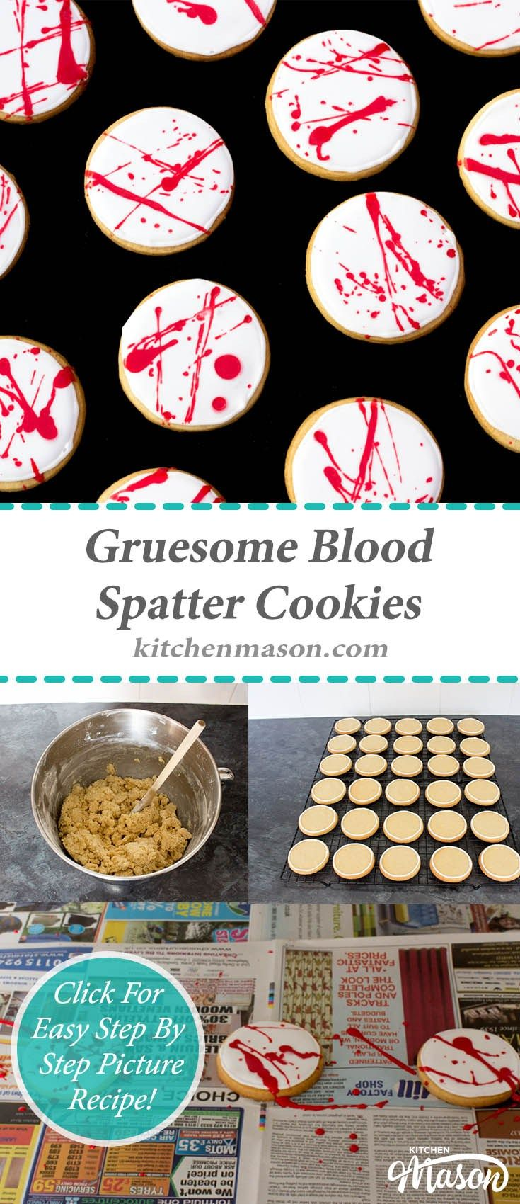 Blood Spatter Cookies | Halloween | Iced | Biscuits | Spooky | Treat