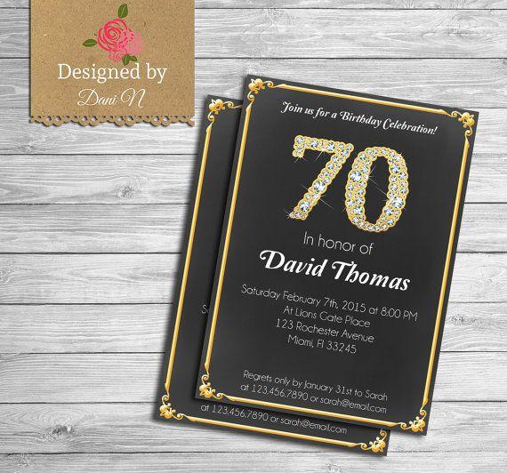 Adult Birthday INVITATION, 70th Birthday invitation, Black and gold, diamond, birthday bash, 80th birthday, 70th Any age birthday #handmade #etsymntt