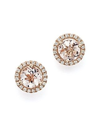Morganite And Diamond Stud Earrings In 14k Rose Gold 100 Exclusive Luxe Gifts For Me Pinterest