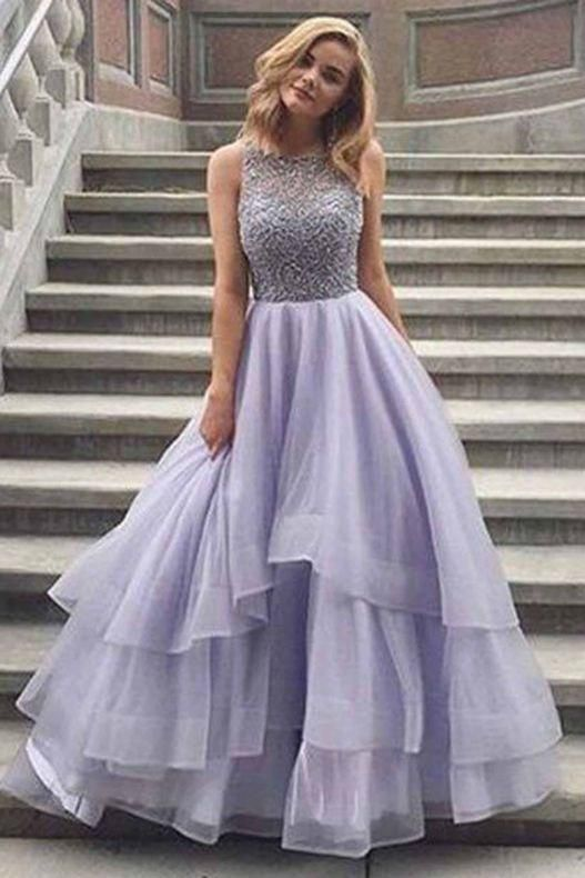 Lavender Sleeveless Scoop Tiered Tulle Prom Dress with Beads,Prom Dress Long,Formal Dress,N365 17