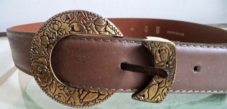 Georges RECH antique bronze Engraved Tan leather Belt 75/30 small xs FRANCE