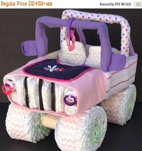 A personal favorite from my Etsy shop https://www.etsy.com/listing/483997413/sale-girl-jeep-diaper-cake-diaper-cake