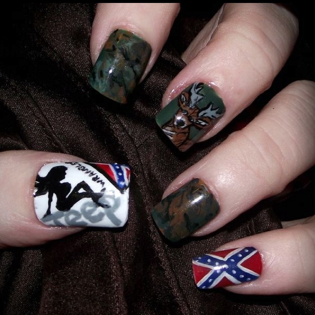 trucker girl country nails? sure why not!