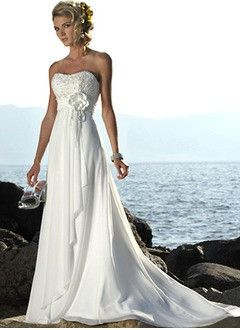 Empire Strapless Sweetheart Court Train Chiffon Wedding Dress With Ruffle Lace Beading Flower(s)