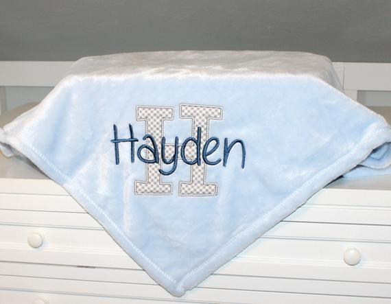 girls Easter birthday gift baby shower gift Personalized baby blanket boys embroidery name baby blanket fleece blanket