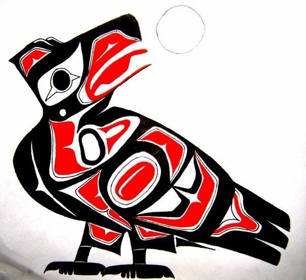 Сохраните ссылку на фото: Птица в стиле индейцев хайда