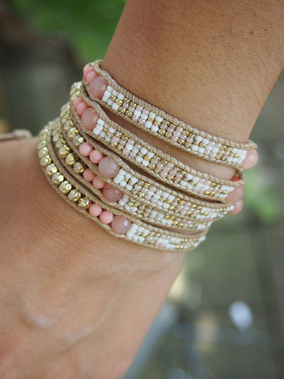 Pink Coral mix Wrap bracelet with Seed beaded Boho by G2Fdesign