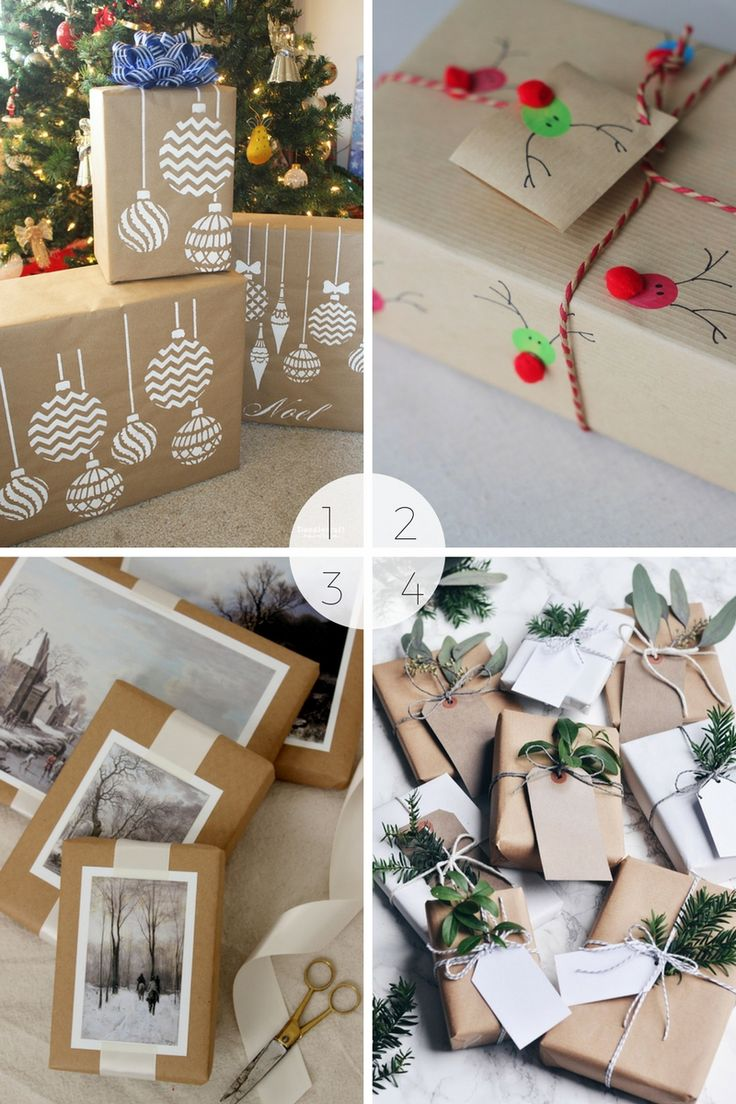 15 Christmas gift wrapping ideas using brown paper - I use brown paper or craft paper for wrapping all my gifts - I just theme it differently. Here are 15 Christmas gift wrapping ideas using brown paper.
