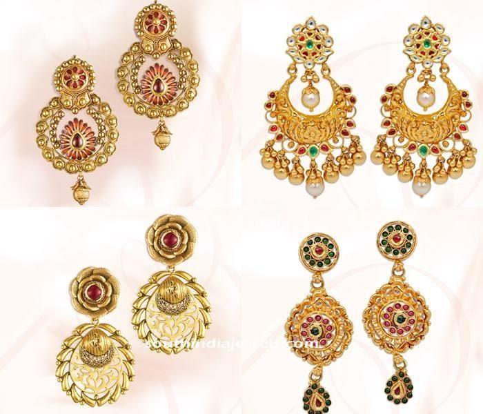 22k Gold earrings designs from GRT, GRT Jewellers Earrings collections, Gold earrings designs 2015.