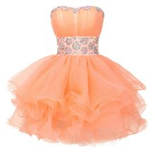 Crystals Orange Girl Slim Sexy Strapless Mesh Shool Party Gown Prom Cocktail Mini Dress CL4793
