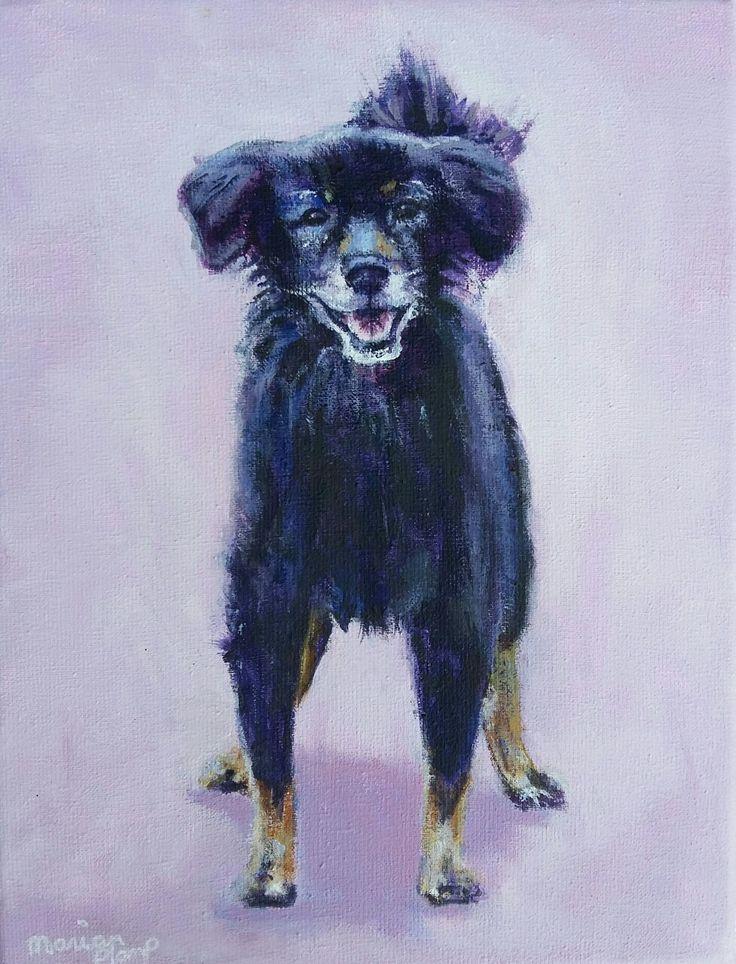 Odie, acrylverf op doek geschilderd door Marian Plomp