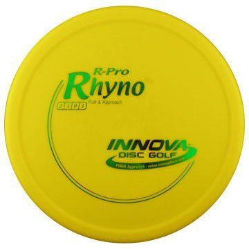 """R Pro Rhyno 170-175g by Innova. $9.95. The Rhyno is an overstable putt and approach disc that can handle headwinds. Great for players with lots of throwing power as the Rhyno stops on a dime and stays close to the basket. It is a must have disc for short to medium up shots and putting into the wind. The Pro line model is also called a """"Soft"""" Rhyno and is made to be super soft and flexible in an extra grippy plastic that grabs the chains.  Please contact us by email ..."""