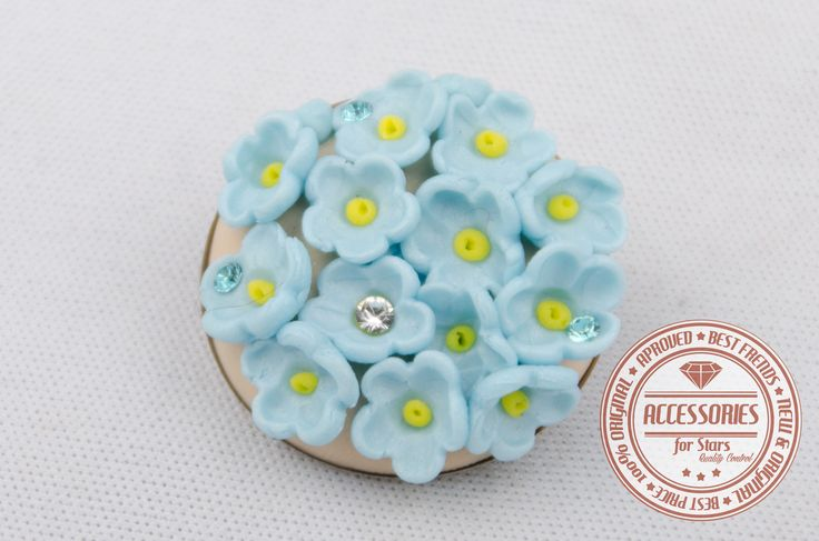 http://accessoriesforstars.blogspot.ro/ #brooches #flowers #babyblue #blue #soft #crystals #swarovski #original #unique #accessoriesforstars