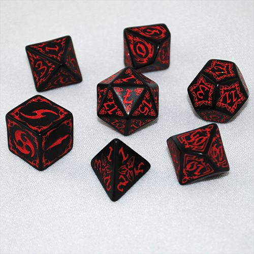 Black & Red Tribal Dice Set - RPG board games