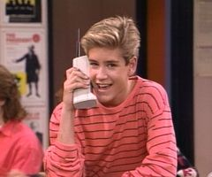 Zack Morris on his cell phone - this was Coolness back in the day.