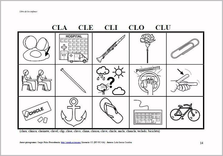 MATERIALES - Libros de sinfones.    Libros de lotos y fichas para trabajar los diferentes grupos de sinfones: libro de Loto de Sinfones.    http://arasaac.org/materiales.php?id_material=916