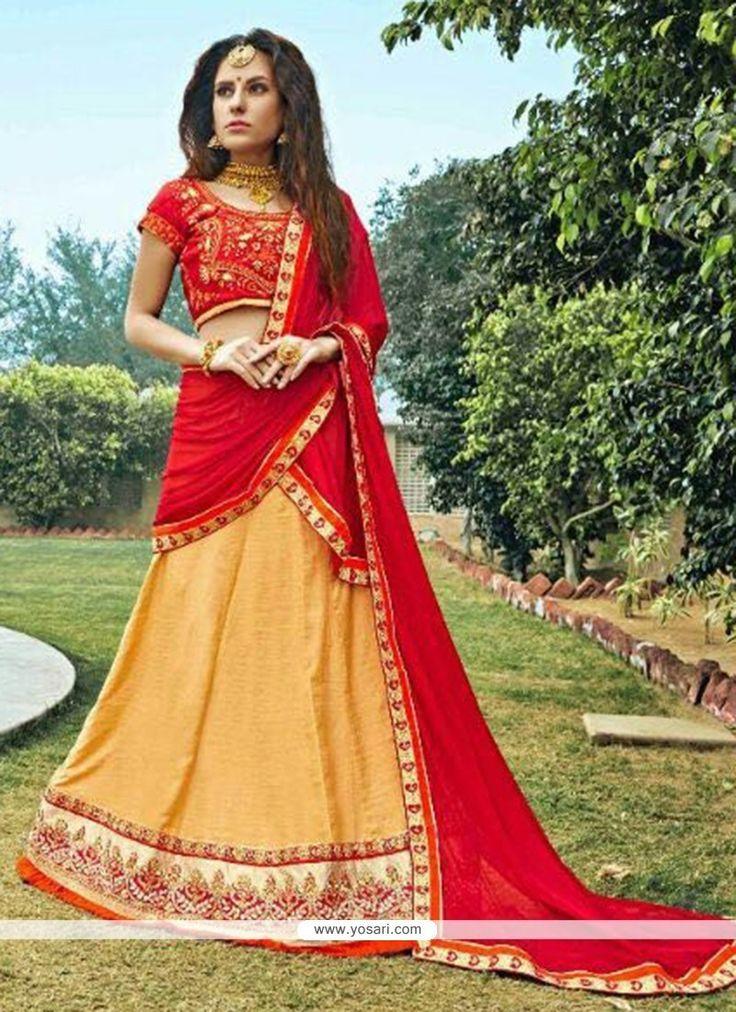 Latest Zari Work Peach And Red Lehenga Choli Model: YOLEN4036