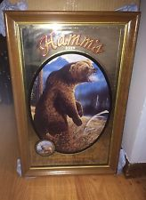 (L@@K) 1993 HAMM'S BEER GRIZZLY BEAR MIRROR BAR SIGN WITH WOODEN FRAME SERIES