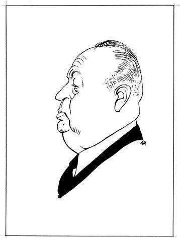 """Attilio Micheluzzi Alfred Hitchcock ritratto pubblicato a pag. 31 de """"Il giornalino"""" n°20, 1985. Matita e china su carta cm 25x35 (disegno cm 11x12). Firmato con monogramma"""