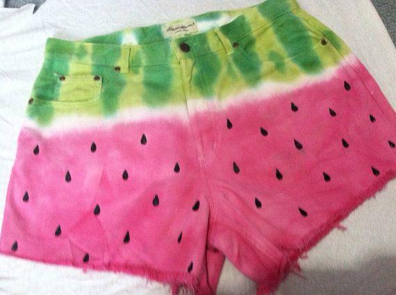 CUSTOM Watermelon denim shorts ALL sizes by SewOeno on Etsy, $45.00