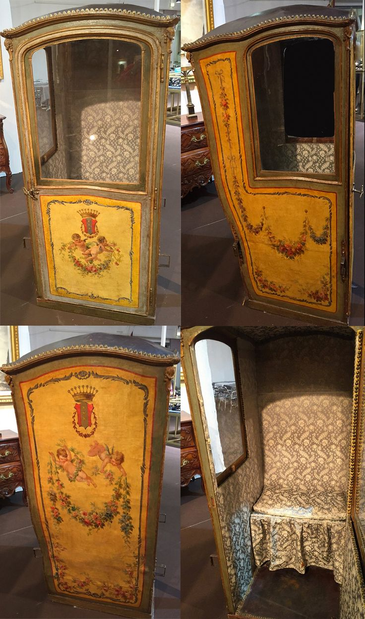 """A sedan chair, Paris c.1760-1770, called """"good weather"""" in French lacquer or """"Martin varnish."""" Work. Model painted decor oil putti holding arms background preparation lacquer """"daffodil"""" framing gilded wood, studded leather ceiling, blown glass windows (original), formerly lined the inside of a sky blue damask Louis XV style. industrially manufactured in Paris by saddlers who had only the privilege. Read more: click on image."""