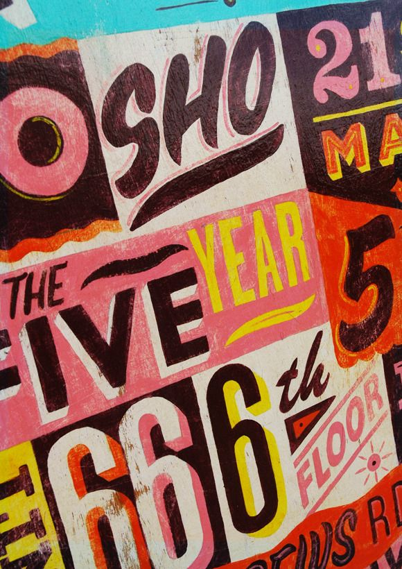 """painted type on wood """"666"""""""