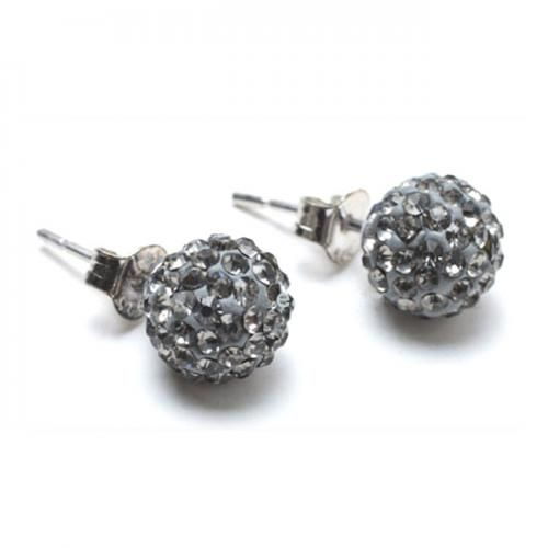 Sterling Silver Grey Crystal Shamballa Inspired Stud Earrings