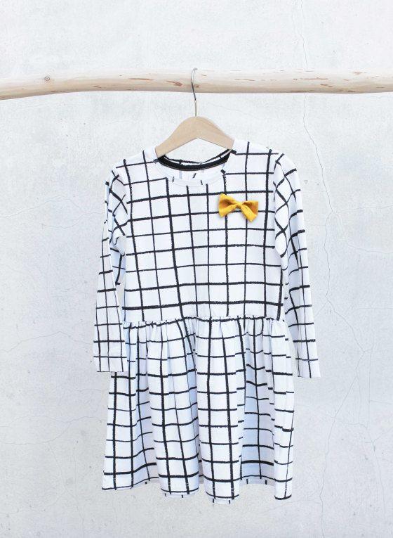 Poco Grid Dress, Jersey Cotton Girls Dress, Grid Monochrome, Black and White dress by Pocopato on Etsy