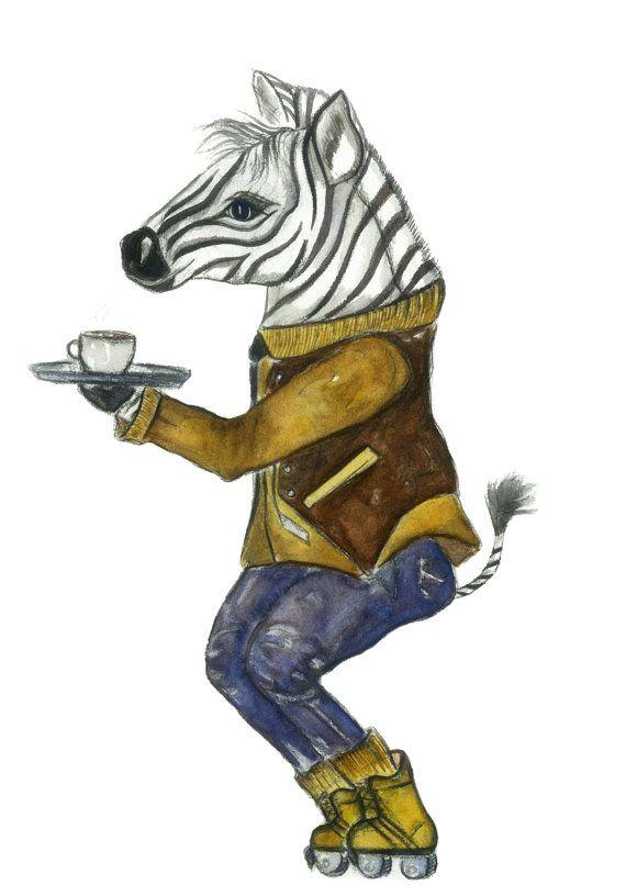 impression d'aquarelle 8 x 10. Tited «Zazzle» cette aquarelle zèbre un zebra caractéristiques étant un barista au café local! Parfait pour ceux qui veulent quelque chose «un peu différent»  Présenté sur papier mat Poids lourd à l'aide de sels d'epsom encres avec l'appui Conseil, emballage cellophane et imprimer les informations. Prêt à être encadré dès que possible