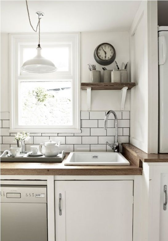 kitchen: Kitchens, Interior, White Kitchen, White Tile, Wood Counter, Small Kitchen, Kitchen Ideas, Dark Grout, Subway Tiles