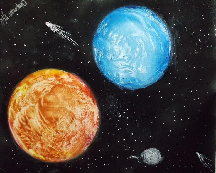 16 x 20 on black spray painted canvas
