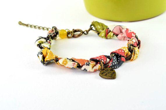 liberty fabric bracelet #jewelry#etsy#fashion