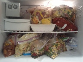 Frozen crockpot meals.  Awesome! Like the garlic chicken but with chicken breasts...