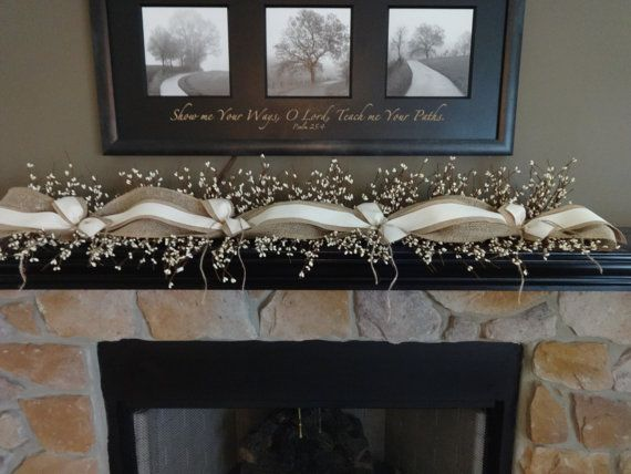 Need something for your mantle, TV stand, large window sill? Why not try this garland, perfect for Summer or All Year Long. This garland is made using cream berries, burlap, burlap ribbon and finished with cream ribbon. It is available in several lengths. If you need another length,