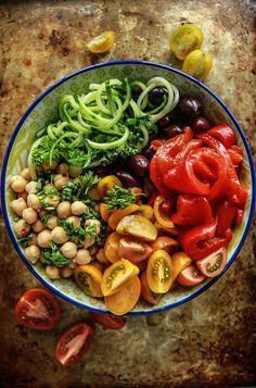 Greek Salad Cucumber Noodle Bowl- Vegan