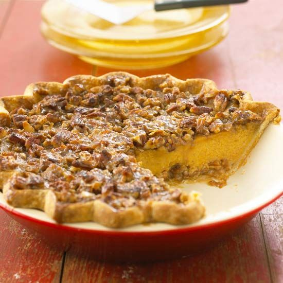 Pecan-Topped Pumpkin Pie