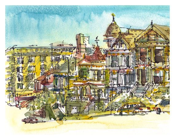 San Francisco Alamo Square. Painted Ladies Watercolor pen and ink sketch.